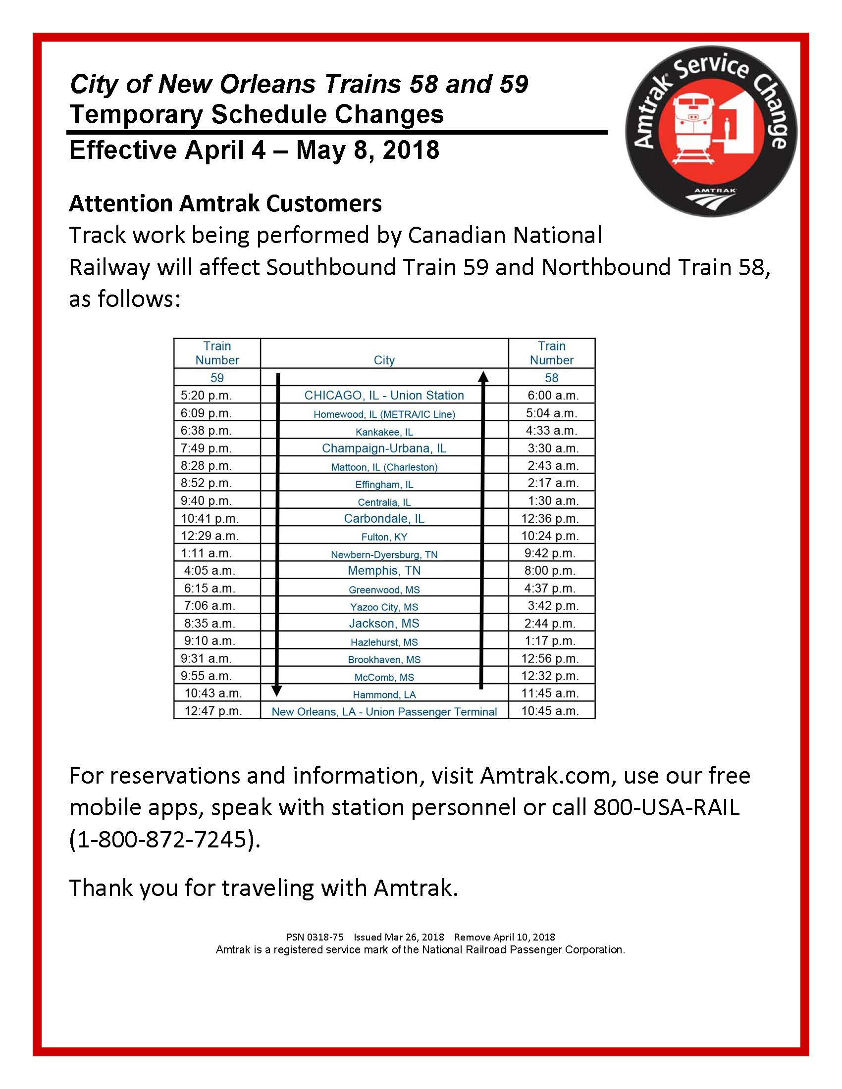 city of new orleans train temporary schedule change | city of yazoo city
